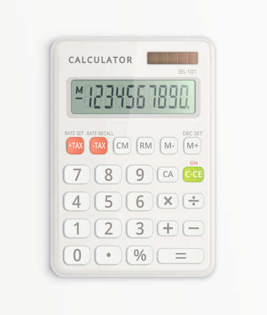 Simple white calculator with solar cell isolated on white background. It is on and shows numbers on display. Vector illustration.