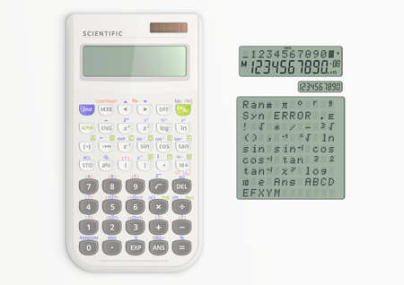 White scientific calculator with solar cell. Calculator and screen symbols isolated on white background.  Vector illustration.