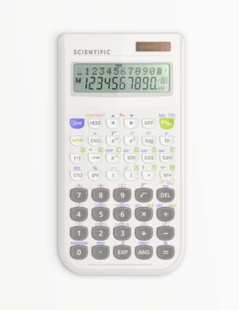 White scientific calculator with solar cell isolated on white background. It is on and shows symbols on display. Vector illustration. Ilustracja