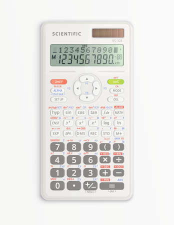 White device for mathematical calculations with solar cell isolated on white background. It is on and shows symbols on display. Vector illustration.