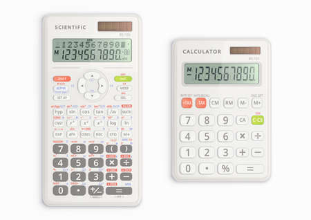Scientific and simple calculators with solar cell in white color. They are on and show symbols on display. Vector illustration. Illustration