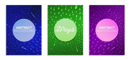 Realistic liquid drops are on the surface. Abstract banners set for business presentations, flyers, poster. Vector illustration.