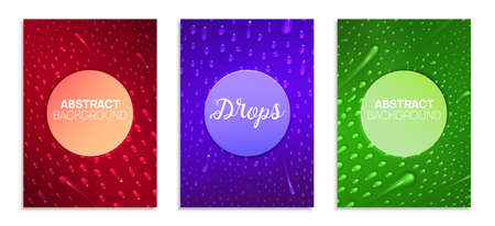 A4 colorful banners set for business presentations, flyers, poster. Realistic liquid drops are on the surface. Modern gradient vector illustration. Ilustracja