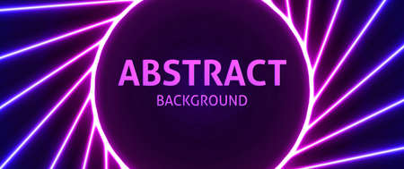 Laser line vector illustration. Neon powerful beams creates a circular area in the center for your text, copy space. Modern pink purple background. Ilustracja