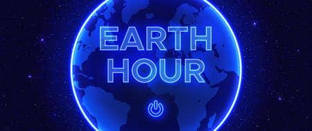 Illustration vectorielle de nuit bleu profond. Composition abstraite de style néon à l'heure de la Terre. Interrupteur d'éclairage marche-arrêt. Sur le fond est l'espace extra-atmosphérique avec des étoiles. Vecteurs