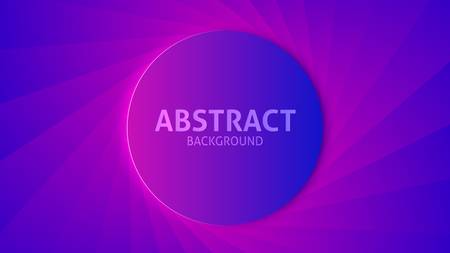 Vector dark saturated purple gradient background. 3d round object on the textured backdrop like a twisted lens iris. Copy space. Ilustracja