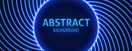 Neon powerful beams creates a circular area in the center for your text, copy space. Modern Blue vector background.