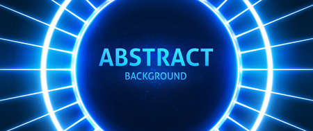 Bright neon powerful beams creates a circular area in the center for your text, copy space. Modern Blue vector background.