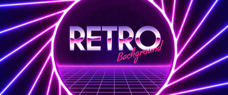 Retro vector background of the 80s. Neon powerful beams creates a circular area in the center for your text, copy space. Futuristic pink purple, laser line illustration.