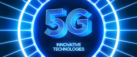 Innovative 5th Generation network technology vector illustration. High speed mobile internet network. Neon blue style background.