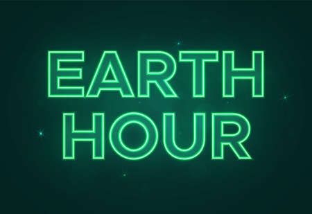Vector text in neon green style to the Earth Hour. Keep our earth green and clean.