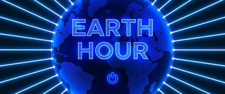 Night Deep Blue vector illustration. Abstract composition in neon style to the Earth Hour. On-off light switch. Save energy to save our Planet. Ilustracja