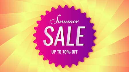 Vector summer sale  banner. 3d violet tag on the textured backdrop like a twisted lens iris.