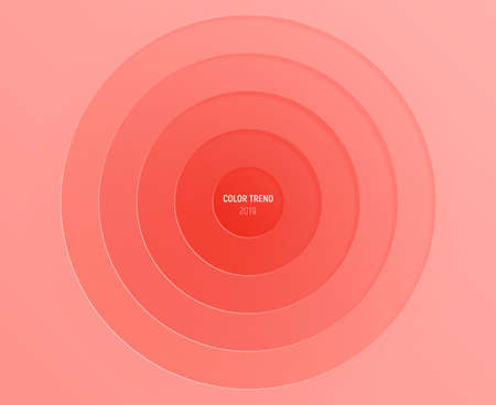 Color of the year 2019 - coral, coralline.  Sheets of paper have round cutouts. Modern paper decoration and color trend palette. Vector background.