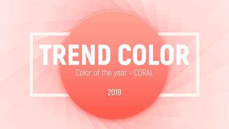 Color of the year 2019 - coral, coralline. Round piece of paper in a trend color with a rectangular frame on the textured backdrop like a lens stop, aperture. Vector image. Ilustracja