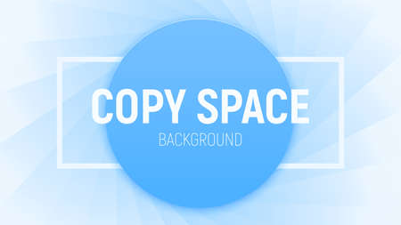 Copy space vector illustration. Round piece of paper in a blue color with a rectangular frame on the textured backdrop like a lens stop, aperture. Minimal blue background. Ilustracja