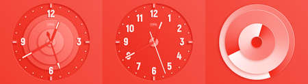 Modern coral abstract paper cut vector illustration. Three dials of clock . Ilustracja