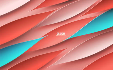Vector illustrated background with dynamic petal shapes. Color 2019 - coral, coralline.  Picture for banner, presentation, brochure. Ilustracja