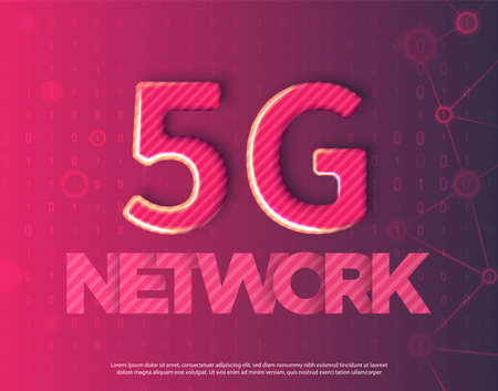 Realistic abstract vector illustration. Red binary code style background.  Innovative 5th Generation network technology. High speed mobile internet network. Modern 3D metallic symbol 5g.