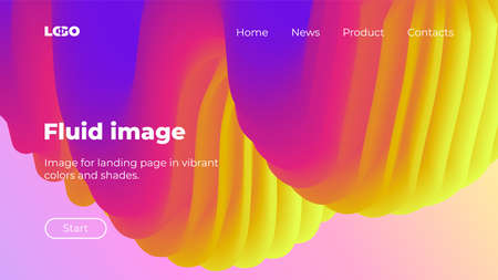 Bright and colorful vector background. Landing page in yellow, pink and blue colors. Vibrant wavy shapes, flow banner, brochure, web page.
