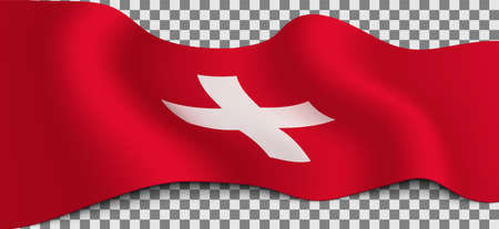Long Swiss flag on transparent background. Flag for any illustrations related to the holidays of Swiss and in general with the country. Vector illustration.