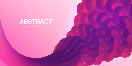 Plastic and colorful abstract background in pink and purple colors. Vibrant wavy shapes, flow banner, brochure, web page.