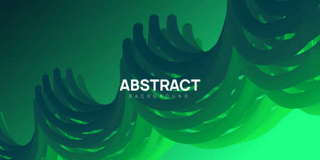 Plastic and colorful abstract background in green color. Vibrant wavy shapes, flow banner, brochure, web page. Ilustracja
