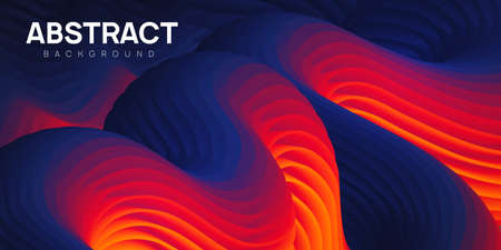 Dark textured abstract background. Vibrant wavy shapes in blue and orange colors, flow banner, brochure, web page. Colorful fluid vector illustration.