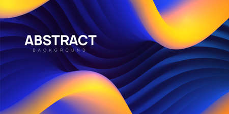 Modern wavy abstract background in blue and yellow colors. Colorful 3d liquid shapes, flow banner, brochure, web page. Fluid vector illustration.