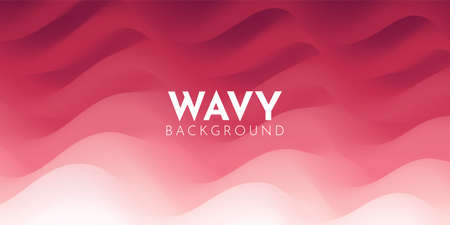 Wavy abstract background in red tone. Bright fluid shapes, flow banner, brochure, web page.