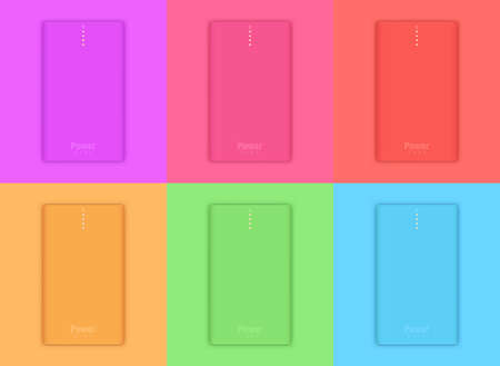 Vector illustration shows set of realistic powerbanks. Illustration in trendy colors. Four orange little lamps indicate about full charge.