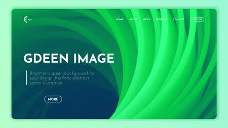 Ecology concept, green cover design on 3d textured background.  Landing page in green shades. Bright shapes, flow banner, brochure, web page.