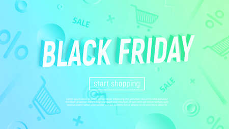 Vector illustration with 3d title on textured background. Modern cyan-green gradient. Black Friday sale banner.