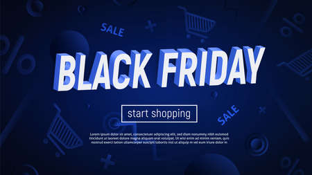 Vector illustration with 3d title on textured background. Dark blue backdrop with 3d shaper in motion. Black Friday sale banner.