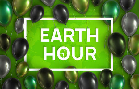 Green, ECO vector illustration. Colorful glossy 3d balloons around rectangular frame. Earth Hour banner.