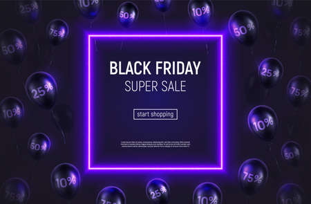 Vector illustration with neon square frame on violet background. Percentage printed on glossy balloons. Black Friday sale banner.