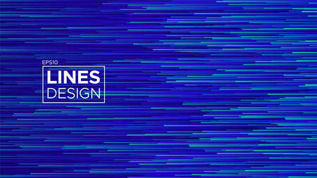 Deep blue lines in motion. Particle flow illustration. Vector glitch effect. Covering for poster, banner, web page.