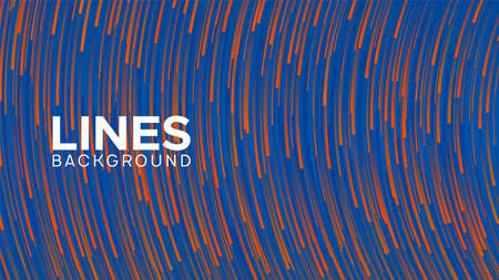 Blue-orange  lines in motion. Particle flow composition. Vector glitch effect. Covering for poster, banner, web page.
