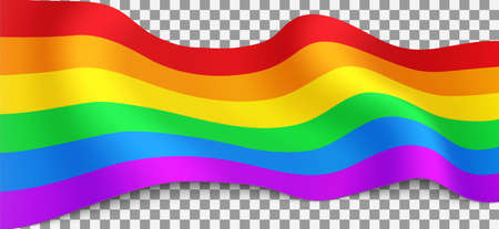 Long LGBT flag on transparent background. Rainbow flag for LGBT pride: lesbian, gay, bisexual, transgender. Human rights and tolerance. Vector illustration.