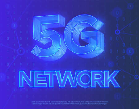 Realistic abstract vector illustration. Deep blue background.  Innovative 5th Generation network technology, high speed mobile internet. Modern 3D blue neon soft light.