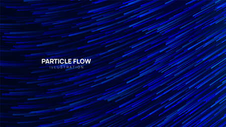 Dark blue particle flow, abstract vector background. Wavy  lines in motion. Wallpaper, banner, image for covering.