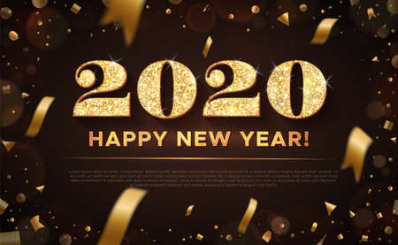 Golden color vector illustration. Banner with gold inscription: 2020 Happy New Year. Vector on black background with flying confetti and bokeh.