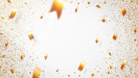 Design template on transparent background. Golden confetti, great design for any purposes. Carnival party, luxury festive background. Light illuminates the central area. Vector illustration. Ilustracja