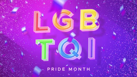 LGBTQI - lesbian, gay, bisexual, transgender, questioning or: queer , intersex. Pride Month. Symbolic rainbow 3d text with falling foil confetti. Celebration realistic vector illustration.