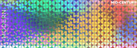 Horizontal vector panorama. Ornament similar to mid-century, but in colorful trendy style. Image consists of quarters of circle. Wallpaper, banner, image for covering. Abstract background, blur.