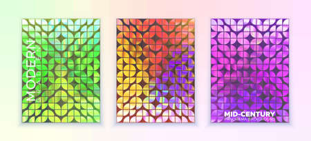 Vector ornament similar to mid-century, in colorful trendy style. Image consists of quarters of circle. Set of three pictures. Wallpaper, banner, poster, image for covering. Bright gradient, blur.
