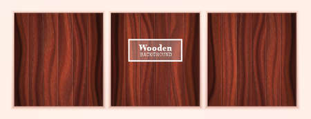Three dark wood textured backgrounds in the form of wooden boards. Walnut vector boards.