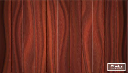 Big walnut background in the form of wooden boards. Vector textured illustration in dark red shades. Ilustracja