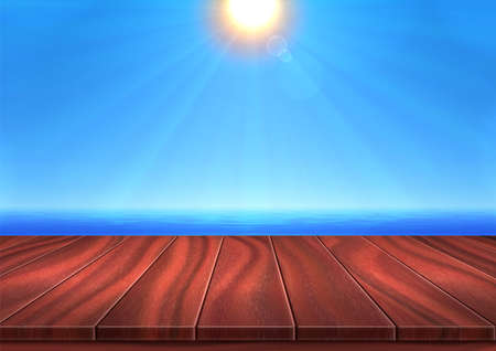 Realistic 3D landscape. Vector illustration, wooden surface is opposite background of sea, ocean, blue sky and shiny sun. Summer weather is calm, the sun is at its zenith - high sun. Place for your text, objects, copy space.