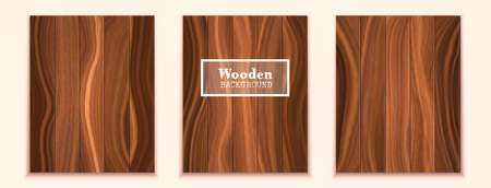 Three dark wood textured backgrounds in the form of wooden boards. Realistic vector boards.